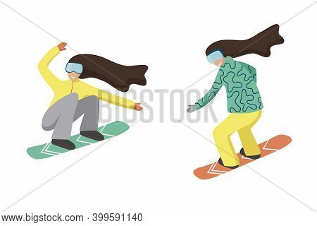 Collection Of Female Cartoon Characters Performing Winter Activities. Set Of Women Dressed In Outerw