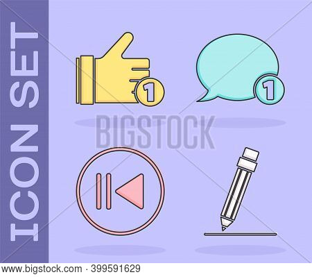 Set Pencil With Eraser, Hand Like, Rewind And Speech Bubble Chat Icon. Vector