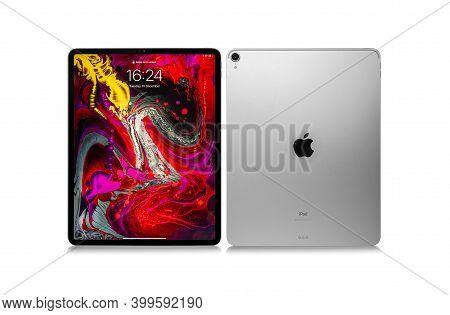 Uzhgorod, Ukraine - December 15, 2020: New Ipad Pro 12.9 Inches From Apple On White Background, Stud