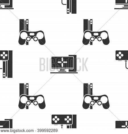 Set Game Console With Joystick, Computer Monitor And Game Console With Joystick On Seamless Pattern.