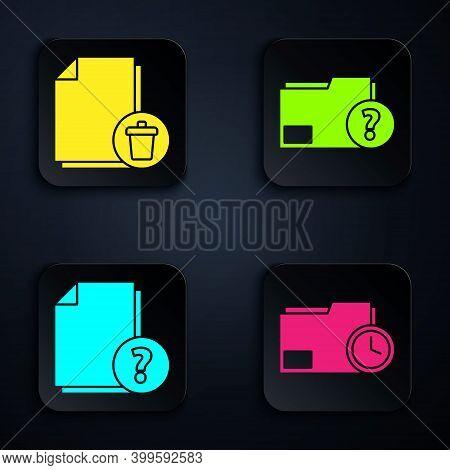 Set Document Folder With Clock, Delete File Document, Unknown Document And Unknown Document Folder.