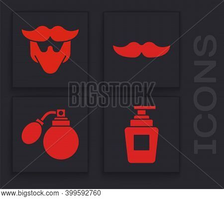Set Bottle Of Shampoo, Mustache And Beard, Mustache And Aftershave Bottle With Atomizer Icon. Vector