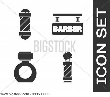 Set Classic Barber Shop Pole, Classic Barber Shop Pole, Aftershave And Barbershop Icon. Vector