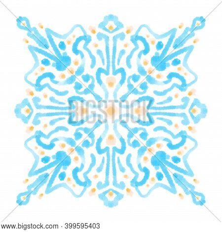 Watercolor Painting Abstract Ornamental Block. Blue Pastel Decorative Design Element, Isolated Textu