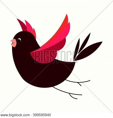 Vector Of Cute Bird Flying. Best For Garden Illustration, Bird, Forest Animal, Wild Bird. Modern Bir