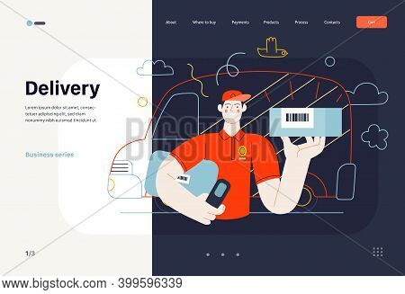 Business Topics - Shipping, Web Template. Flat Style Modern Outlined Vector Concept Illustration. A