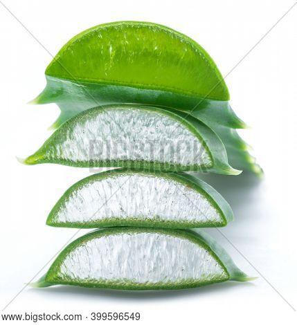 Aloe or Aloe vera fresh leaves and slices on white background.