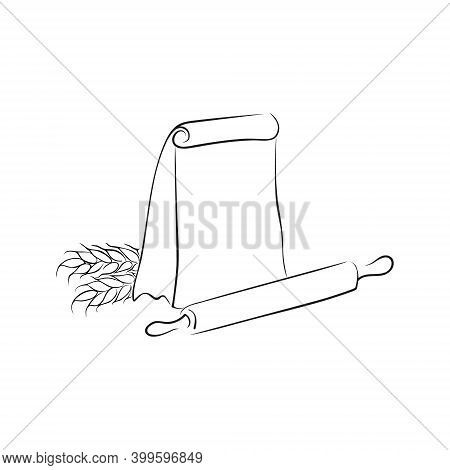 Logo Sack Of Flour, Rolling Pin And Wheat Ear On A White Background. Hand Drawing Flour Bag Outline.