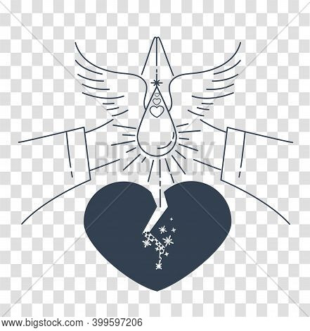 Icon With The Concept Of Forgiveness In The Form Of A Broken Heart That Is Healed With A Tear And Pr