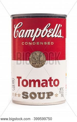Wetzlar, Germany 2020-09-05: Campbell's Condensed Tomato Soup Can. The Campbell Soup Company, Is An