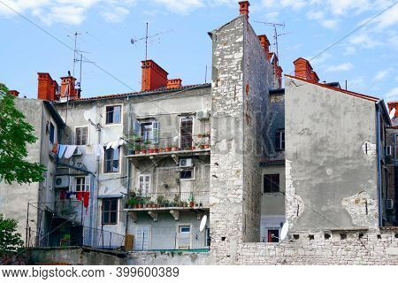 Architecture of Pula the largest city in Istria Croatia and popular tourist destination known for its Roman monuments.