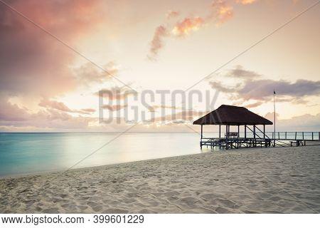 Panoramic Footbridge Over The Indian Ocean, Amazing Flic En Flac Beach At Sunset,mauritus Island,afr