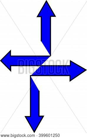Four Blue Arrows Pointing In Four Directions With A Black Boarder.