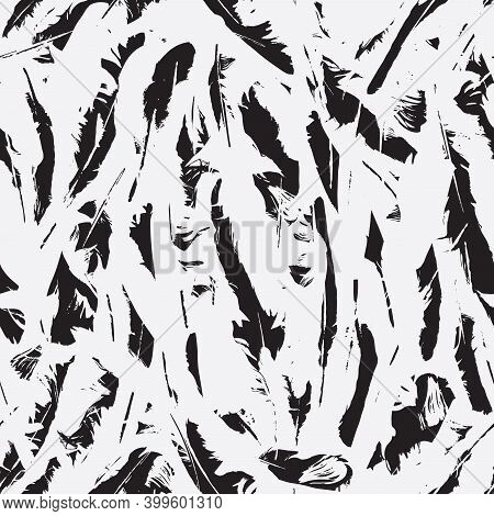 Abstract Seamless Pattern With White Feathers On The Black Backdrop. Vector Repeating Background Wit