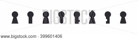 Keyhole Icons. Flat Design. Lock Icons. Keyhole Vector Icons Isolated On White Background. Vector Il