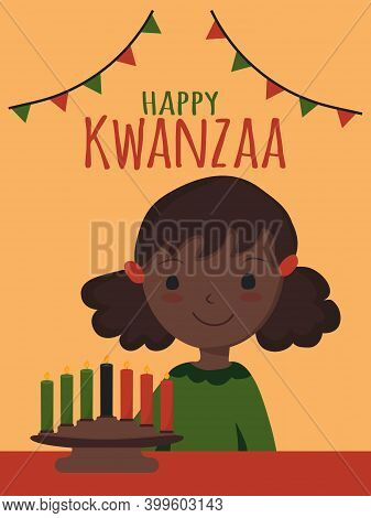Happy Kwanzaa - Text. African American Ethnic Cultural Holiday. Cute Little African American Black C