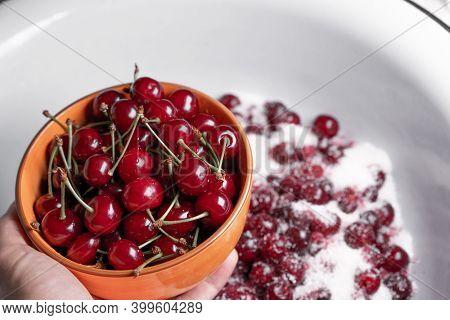 Making Cherry Jam From Ripe Cherries.making Cherry Jam From Ripe Cherries