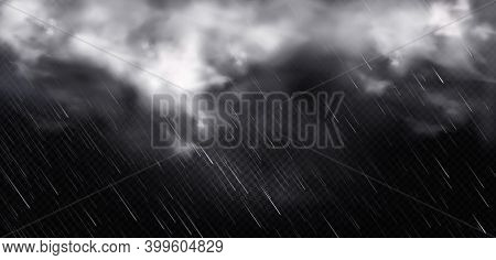 White Clouds, Rain And Fog In Sky. Vector Realistic Illustration Of Cold Storm Weather With Rainfall