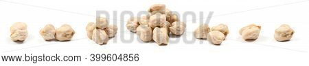 Chickpeas Isolated On White Background. Close-up Shot. High Resolution Photo. Full Depth Of Field.
