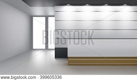 Reception Interior, Cozy Foyer With Modern Desk, Lamp Illumination On Ceiling And Glass Door. Empty
