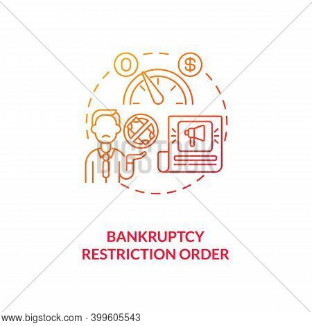 Bankruptcy Restriction Order Red Gradient Concept Icon. Financial Crisis. Legal Restriction. Debtor
