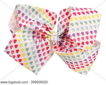 Hair bow tie with colorful hearts of  love isolated on white background