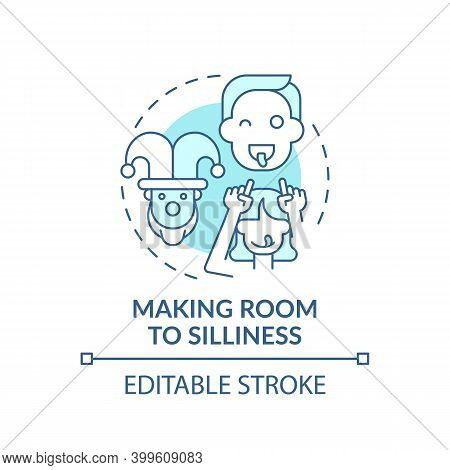 Making Room To Silliness Turquoise Concept Icon. Parent Play With Kids. Childcare. Early Childhood D