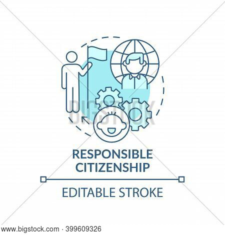 Responsible Citizenship Turquoise Concept Icon. Education For Children. Early Childhood Development