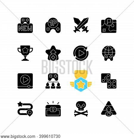 Game Menu Black Glyph Icons Set On White Space. Videogame Interface Silhouette Symbols. Computer And