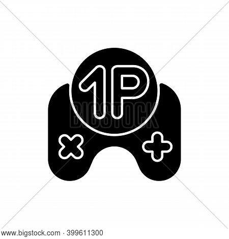 Single Player Game Black Glyph Icon. Videogame Solo Mode. Popular Modern Entertainment, Virtual Past