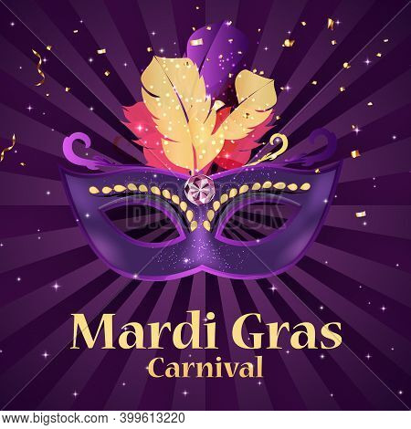 Mardi Gras Carnaval Background.traditional Mask With Feathers And Confetti For Fesival, Masquerade,