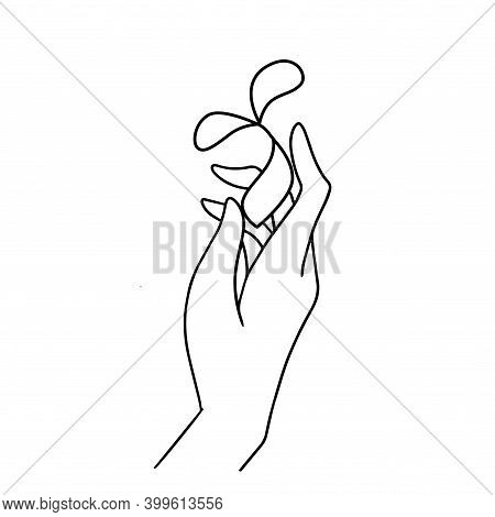 Hand Holding A Seed With Leaves. Line Drawing Of Back To Nature Theme. Growing Plant In Hand Palm. C