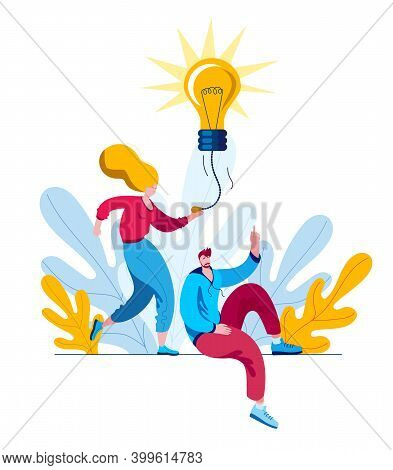 The Girl Turns On The Light Bulb-ideas. The Concept Of A Vector Illustration On The Theme Of Inspira