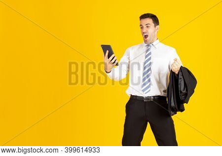 Business Man And A Happy Man Looking At A Tablet