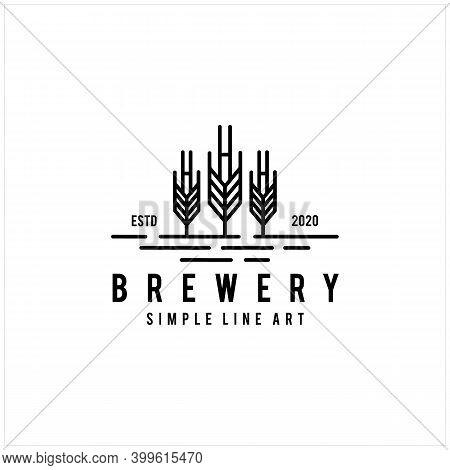 Modern Malt Line Art Logo Design For Ale Beer Brewery