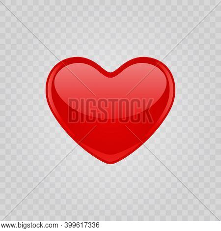 Red Shiny Heart Shape Isolated On Transparent Background