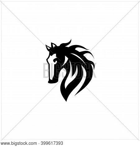Silhouette Horse Stallion Vector Illustration Isolated On White Background Logo Design