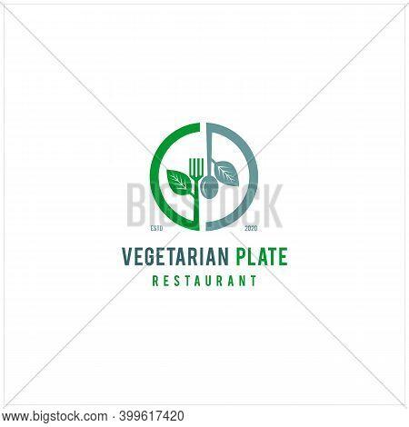 Luxury Fresh Vegetable Leaf With Spoon Fork Knife For Vegan Restaurant Bar Bistro Vintage Retro Logo