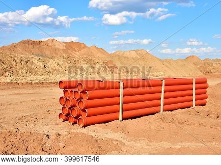 Plastic Sewer Pipes For Laying An External Sewage System At A Construction Site. Sanitary Drainage S