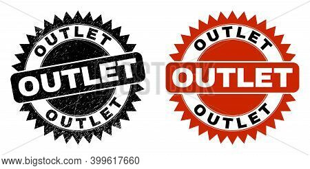 Black Rosette Outlet Watermark. Flat Vector Distress Watermark With Outlet Phrase Inside Sharp Roset
