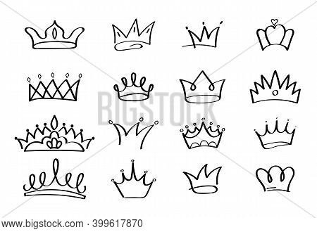 Crowns Vector Set In Doodle Style. King And Queen Crown As Sketch. Outlines Royal Family Signs. Simp