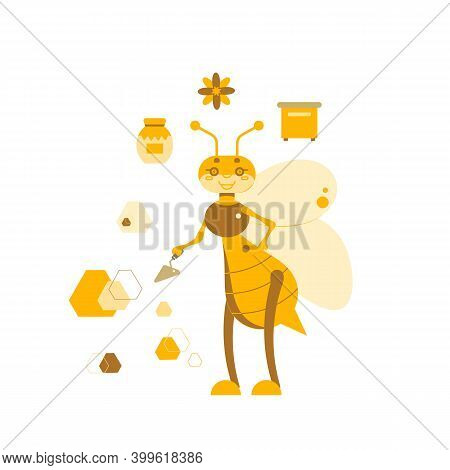 Vector Illustration Of A Working Bee With A Trowel Tool On The Background Of A Beehive, A Jar Of Hon