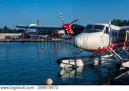 Male, Maldives, 20.11.2020. Trans Maldivian Airways Seaplane Twin Otter Series 400 Docked At Seaplan