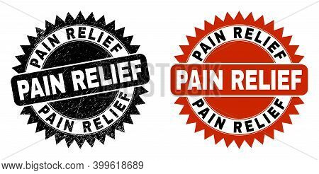 Black Rosette Pain Relief Seal Stamp. Flat Vector Grunge Seal Stamp With Pain Relief Title Inside Sh