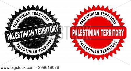 Black Rosette Palestinian Territory Watermark. Flat Vector Grunge Seal With Palestinian Territory Ca