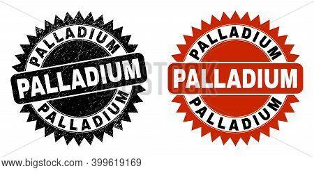 Black Rosette Palladium Seal Stamp. Flat Vector Textured Seal Stamp With Palladium Title Inside Shar