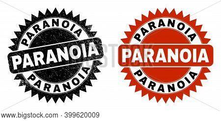 Black Rosette Paranoia Watermark. Flat Vector Distress Watermark With Paranoia Text Inside Sharp Ros