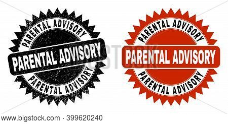 Black Rosette Parental Advisory Watermark. Flat Vector Grunge Watermark With Parental Advisory Capti
