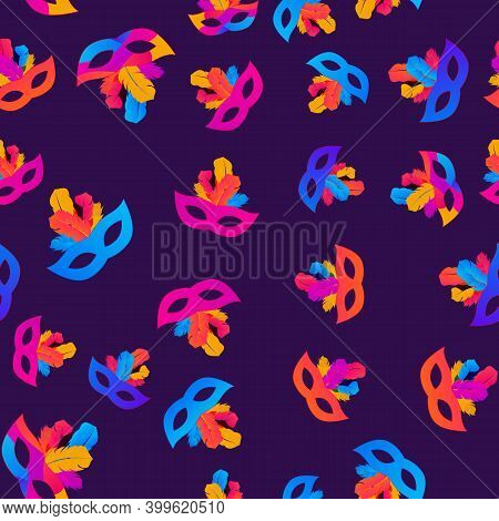 Carnaval Seamless Pattern Background.traditional Mask With Feathers And Confetti For Fesival, Masque