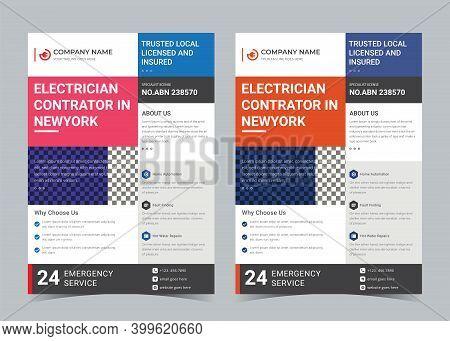 Electrician Flyer, Electrician Contractor Promotion, Wiring, Repair Contractor